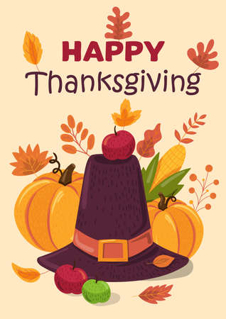 Happy Thanksgiving holiday flat vector greeting card template. Festive items color illustration