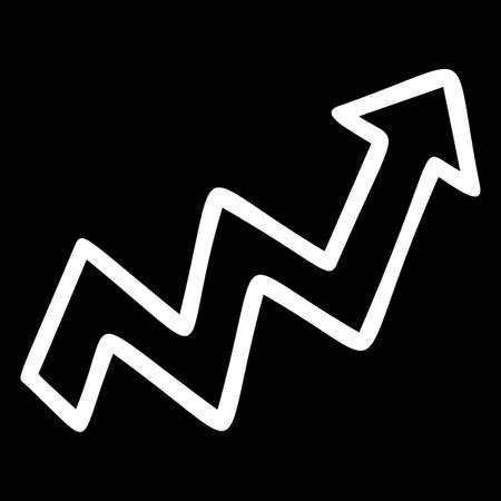 Zigzag up arrow hand drawn vector illustration. Rising pointer sign isolated on black background