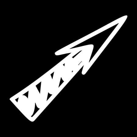 Arrow hand drawn illustration. Navigation sign, direction move isolated on black background Ilustração