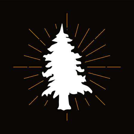 Retro fir tree, spruce silhouette. Coniferous forest, pine woods. Christmas, winter holiday symbol