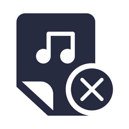 Music, audio file deletion glyph vector icon. Media removal button monocolor isolated pictogram