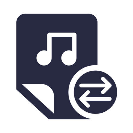 Audio files, music exchange glyph vector icon. Media sending monocolor pictogram isolated on white 일러스트