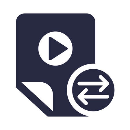 Video file exchange symbol glyph vector illustration. Multimedia sharing and management icon