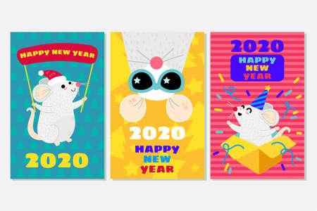 Mice vector greeting cards set. Xmas rats banner template. New Year 2020 symbol