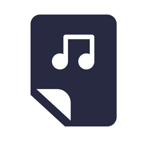 Audio electronic file symbol glyph vector illustration. Music playlist, multimedia storage icon