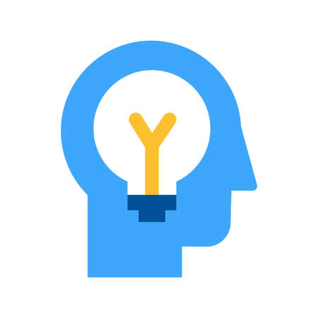 Idea generation and brainstorming flat vector icon. Ideation, solution finding process pictogram