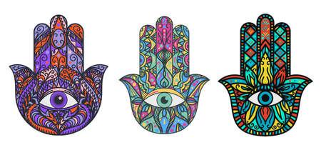 Hamsa, fatima hand illustrations set