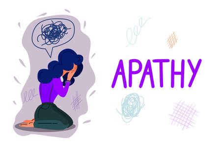 Apathy hand drawn banner vector template Illustration