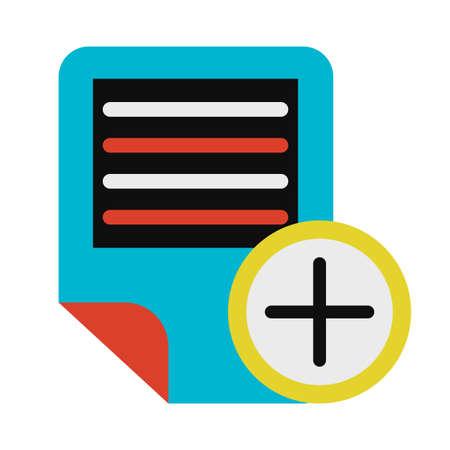 Electronic text document adding symbol glyph vector illustration