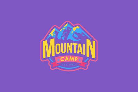 Mountain camp vector logo template Ilustração