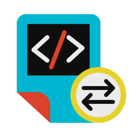 Coding script files exchanging symbol glyph vector icon. HTML tag, system document sharing sign