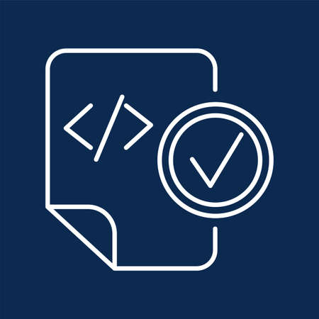 HTML tag blue monochrome thin line pictogram. System document with check mark color linear icon 일러스트