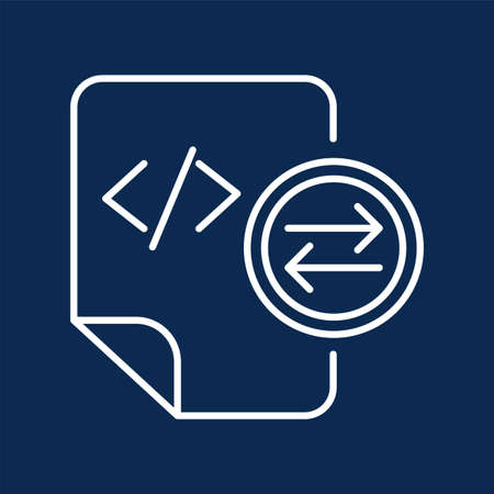 System files exchange monochrome linear icon. HTML tag transfer mark color thin line pictogram