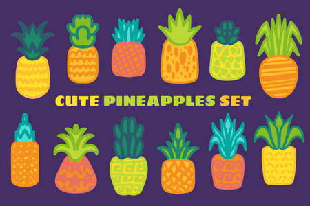 Ripe pineapple hand drawn vector illustrations set. Juicy tropical fruits doodle drawings pack 向量圖像