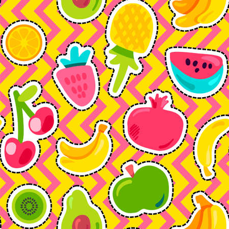 Fruits on zig zag background seamless pattern. Tropical fruits, berries on geometric backdrop
