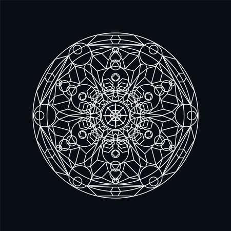 Silver geometric mandala lineart illustration isolated on black. Traditional motive. Boho tattoo
