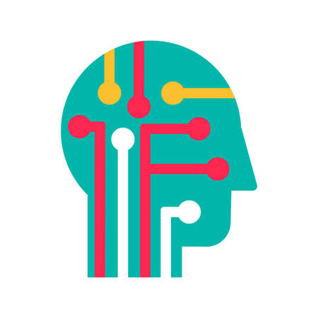 Intelligence, learning and innovation flat vector icon