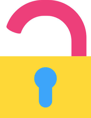 Open padlock flat vector icon. Openness, extraversion symbol. Security, password illustration