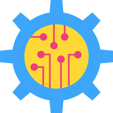 Digital technology flat vector icon. Technical skills. Cogwheel with circuits cartoon illustration