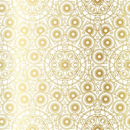 Golden Mandala Boho Seamless Pattern. Vector