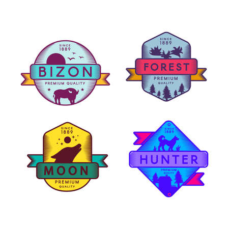 Wild Bizon and Hunter, Moon and Forest Set Logo. Colorful Assortment Trademark Premium Quality. Howling Wolf and Deer, Dog and Buffalo Silhouettes on Design Logotype Template Vector Flat Illustrations