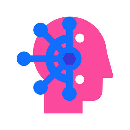 Mind control, thought manipulation flat vector icon. Brainwashing, neuroscience color pictogram Vettoriali