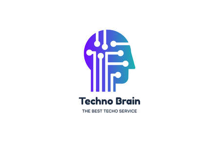 Man Head and Chip Techno Brain Multimedia Logo. Modern Creative Idea Symbol. Innovation Technology Electronic Device Service. Stylized Design Template Logotype Vector Flat Illustration