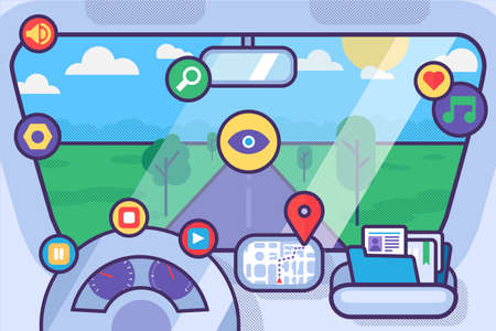 Inside car interior with wheel, speedometer, gps navigator. Vehicle background with view of road in window. Vector Ilustracja