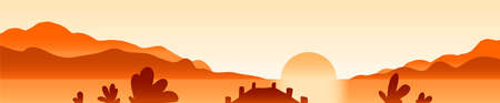 Sunrise landscape flat vector illustration