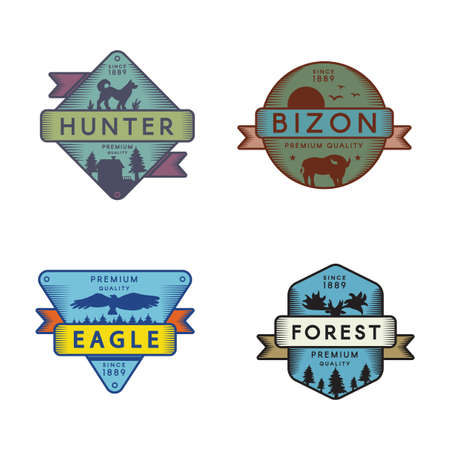 Wild Eagle and Bizon, Hunter and Forest Set  . Colorful Collection Trademark Premium Quality. Bird Falcon and Deer, Buffalo and Dog Silhouettes on Bright Logotype Layout Vector Flat Illustrations