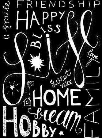 Poster Happy Sweet Life Original Hand Drawn Quote on Chalkboard Background. Funny Words Friendship and Home, Bliss and Hobby, Family and Smile Monochrome Template Vector Flat Illustration