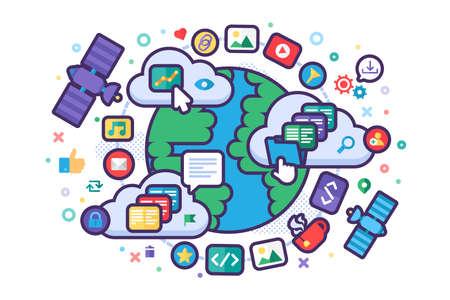 Global Network Concept Illustration. Internet, web and digital technology. Internet traffic. Vector