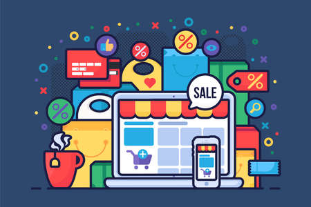 Internet shopping flat vector illustration. E commerce accessories, online store, e trading business