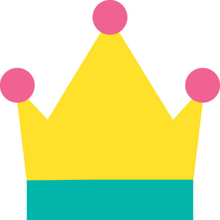 Drawn Monarch King and Queen Symbol Crown Icon 向量圖像