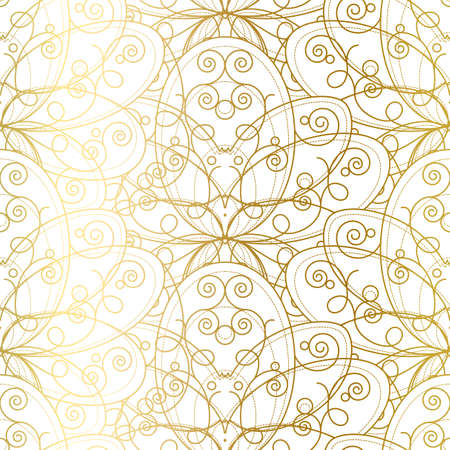 Seamless Pattern with Abstract Golden Ornament. Gilding Geometric Print on White Background. Template Vector Illustration of Beautiful Luxury Decoration in Vintage Style