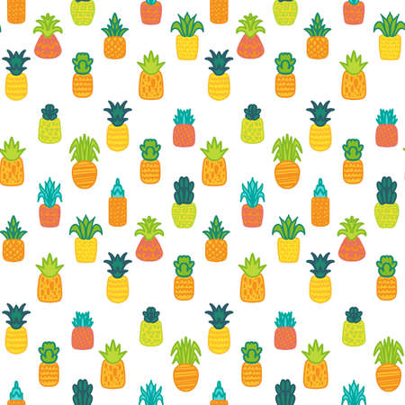 Pineapples vector hand drawn seamless pattern