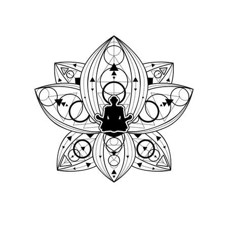 Human Silhouette with Lotus Flower Vector Template Ilustração