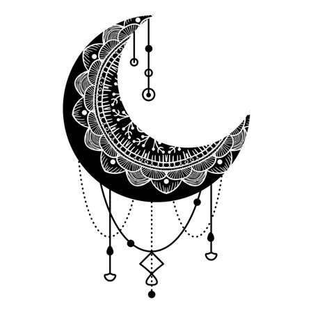 Hand Drawn Moon with Flowers, Mandalas and Paisley. Beautiful Floral Pattern of Crescent Isolated on White Background. Decorative Moon for Holy Month of Ramadan Poster or Card, Vector Illustration