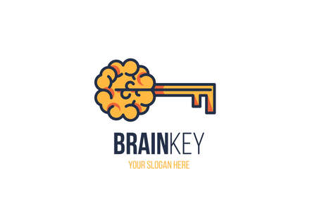 Creative Brain Sign with Key and Slogan Copy Space over White Background. Effective Thinking Concept. New Idea, inspiration, Innovation, Education Sign for Company  Design