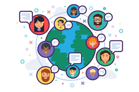 Mix Raced Multiethnic Business People Team Communicating over Earth Globe Background. Flat Vector Illustration of Global Social Network Communication, Globalization of Teamwork and Diversity Concept