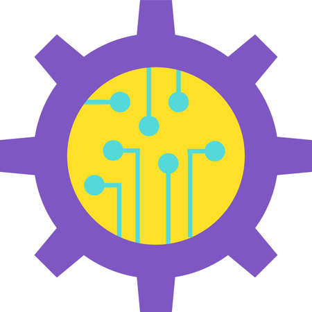 Design Stylish Colorful Gear with Microchip Icon. Machinery Detail and Chip Modern Technology Concept of Automatic Process. Innovation Electronic Industry Sign Template Vector Flat Symbol