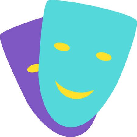 Symbol Comedy and Drama of Theater Two Mask Icon. Design Colorful Traditional Sign of Cultural Humor and Tragedy Entertainment. Couple Funny Laughing and Sad Crying Guises Template Vector Flat