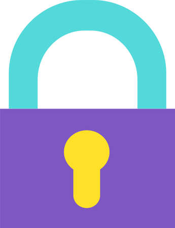 Design Colorful Vintage Locked Gate Padlock Icon. Security Key Lock with Keyhole Object. Closed Door Protection Equipment for Safe Access to Private Things Sign Concept Template Vector Flat Symbol
