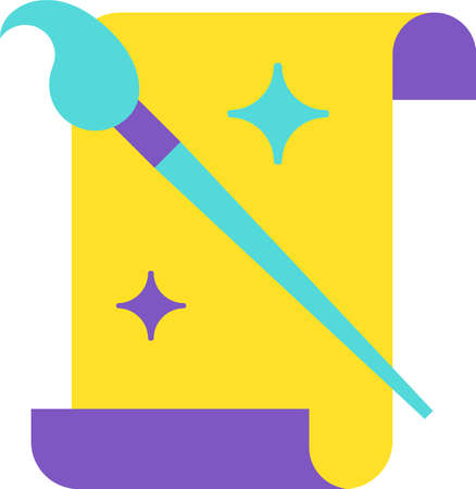 Piece of Whatman and Paint Brush with Stars Icon. Colorful Creative Design Blank Paper and Tassel Element Detail for Hand Drawing. Artist and Workshop Concept Template Vector Flat Symbol Illusztráció