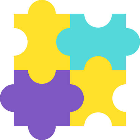 Design Jigsaw Detail of Puzzle Construction Icon. Combination with Compatibility Piece Element of Game for Player or Friend Collective Join Time. Concept Template Vector Flat Symbol