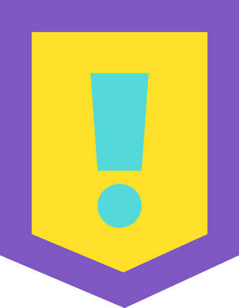 Design Style Concept of Exclamation Mark Icon. Screamer Sign Isolated in Figure Frame. Caution Attention Signal. Warn Notice Hazard Warning Symbol of Danger Zone Template Vector Flat Illusztráció