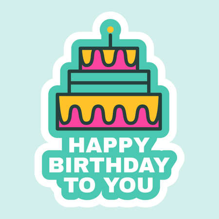 Birthday Cake Sticker, Cute Holiday Festive Bagde Flat. Cartoon Birthday Decoration for Postcard or Greeting Card Design. Party Invitation Vector Illustration Illusztráció