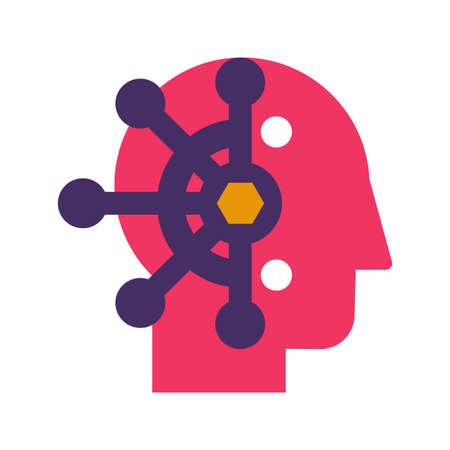 Mind control, thought manipulation flat vector icon. Brainwashing, neuroscience color pictogram Illusztráció