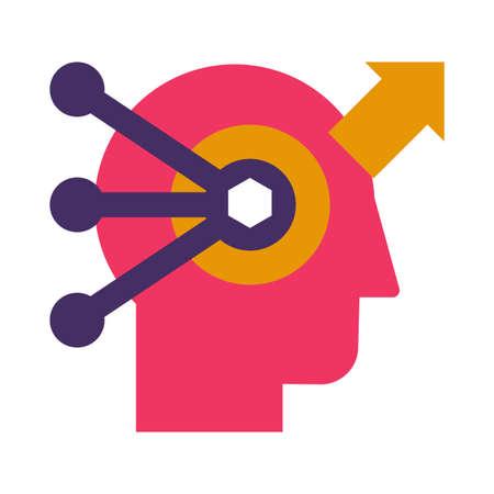 Problem solving and analysis flat vector icon. Brainstorming, data research color pictogram Illusztráció