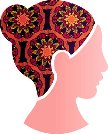 Asian Woman Face Silhouette Profile Icon. Ethnic Chinese or Japanese Female with Floral Ornament Decoration. Multiracial Equality, Feminism and Women Rights Protection Concept, Vector Illustration Illusztráció